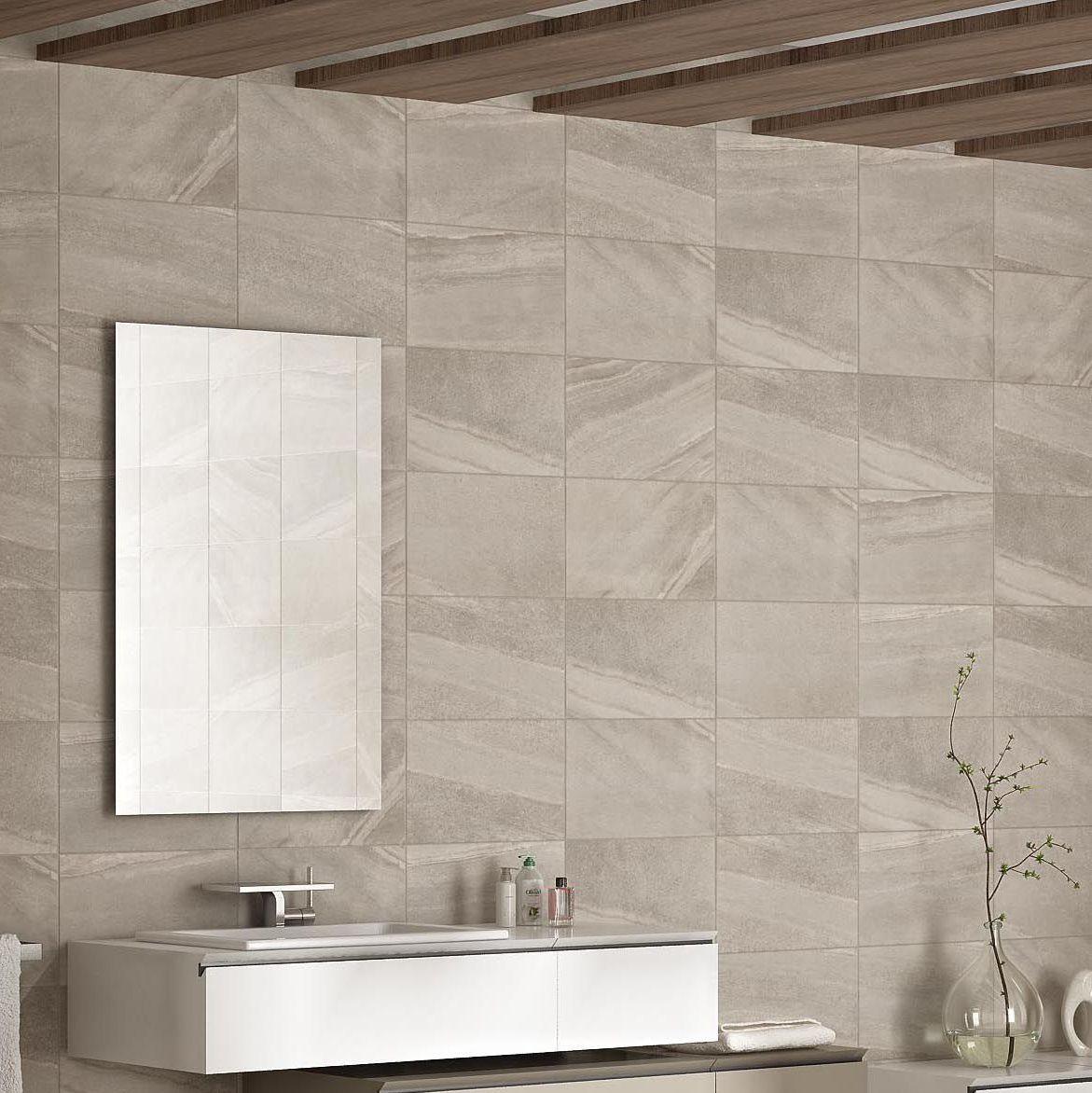 Levanto White Ceramic Wall Tile Pack Of 10 L 250mm W: Fiji Grey Stone Effect Ceramic Wall Tile, Pack Of 10, (L