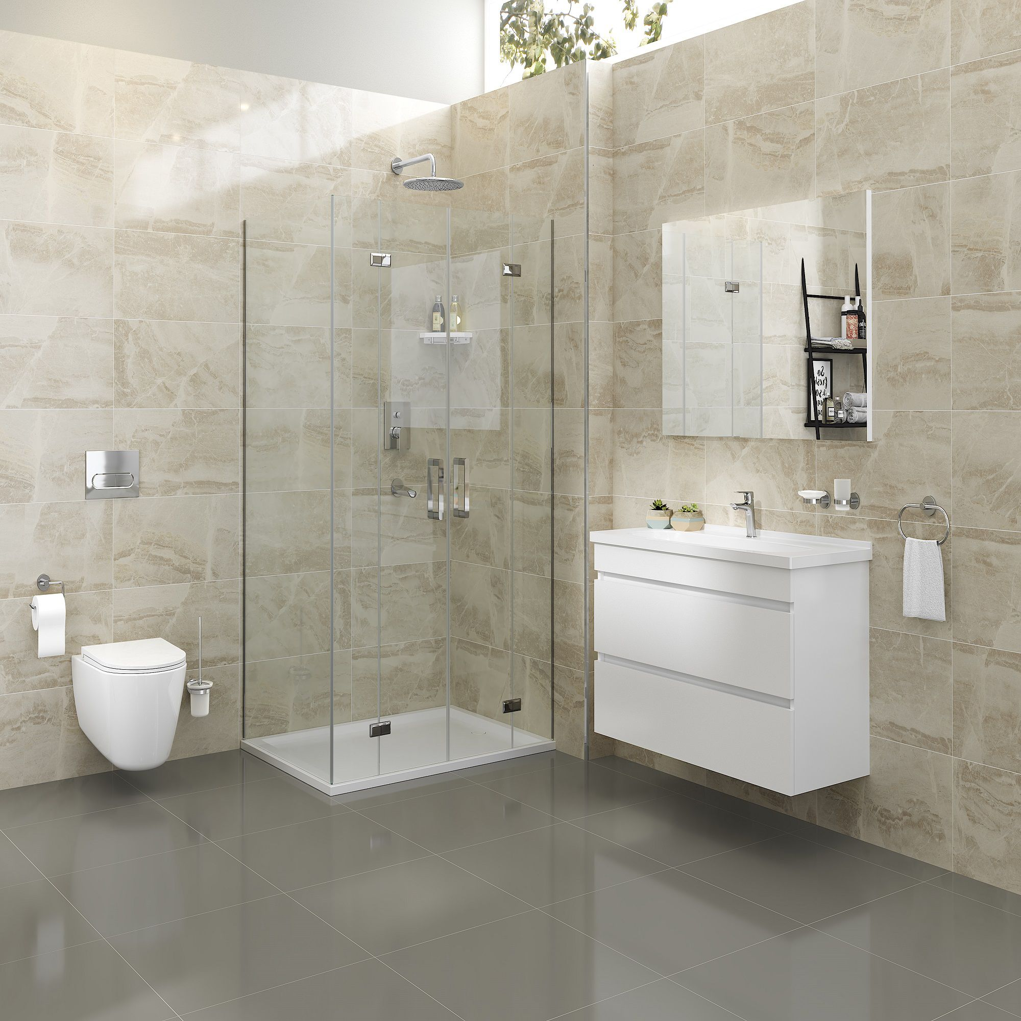 Florence Beige Gloss Marble effect Ceramic Wall tile, Pack ...