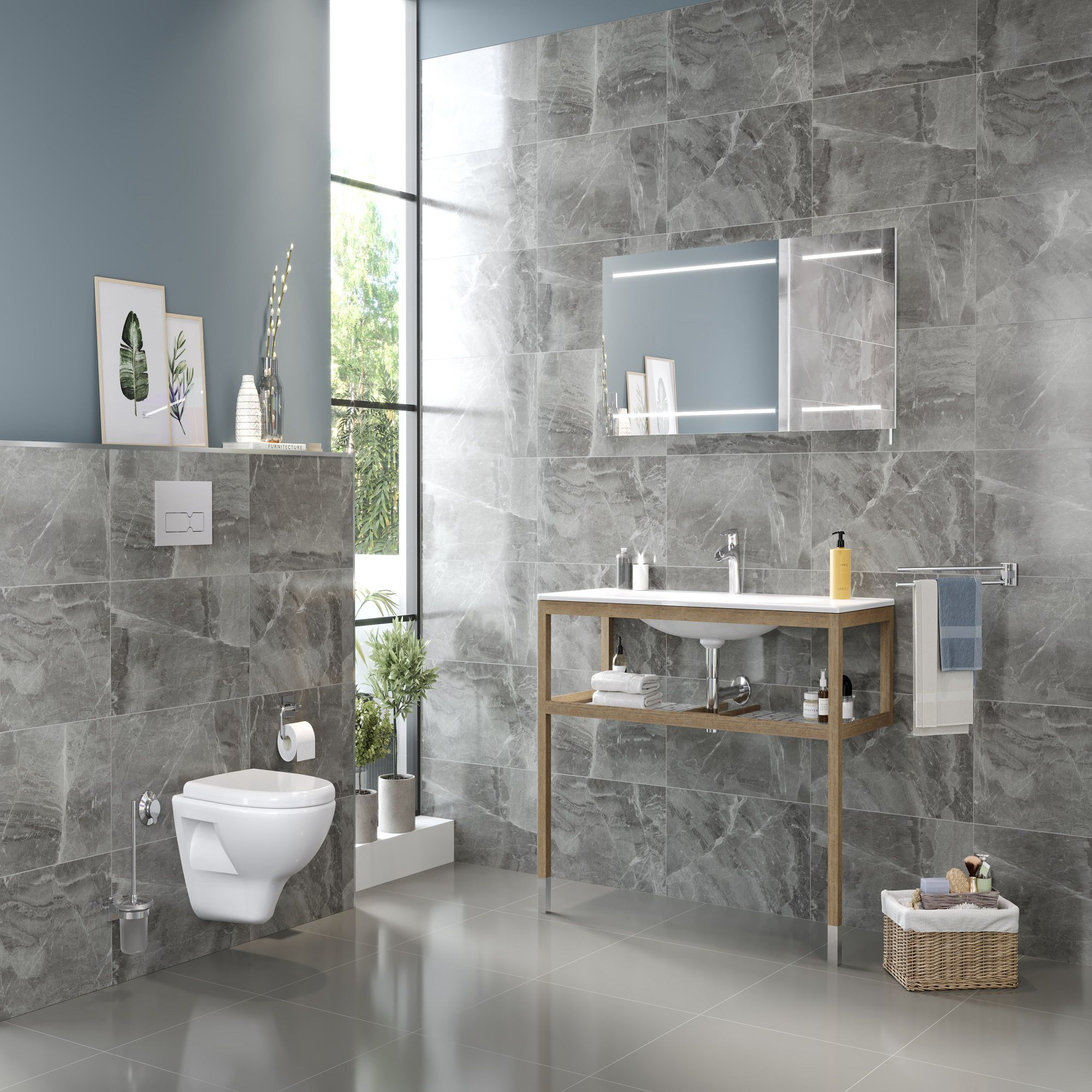 Florence Grey Marble effect Ceramic Wall tile, Pack