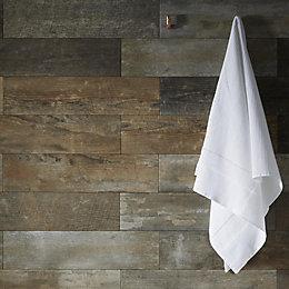 Savona Grey Natural wood effect Porcelain Wall &