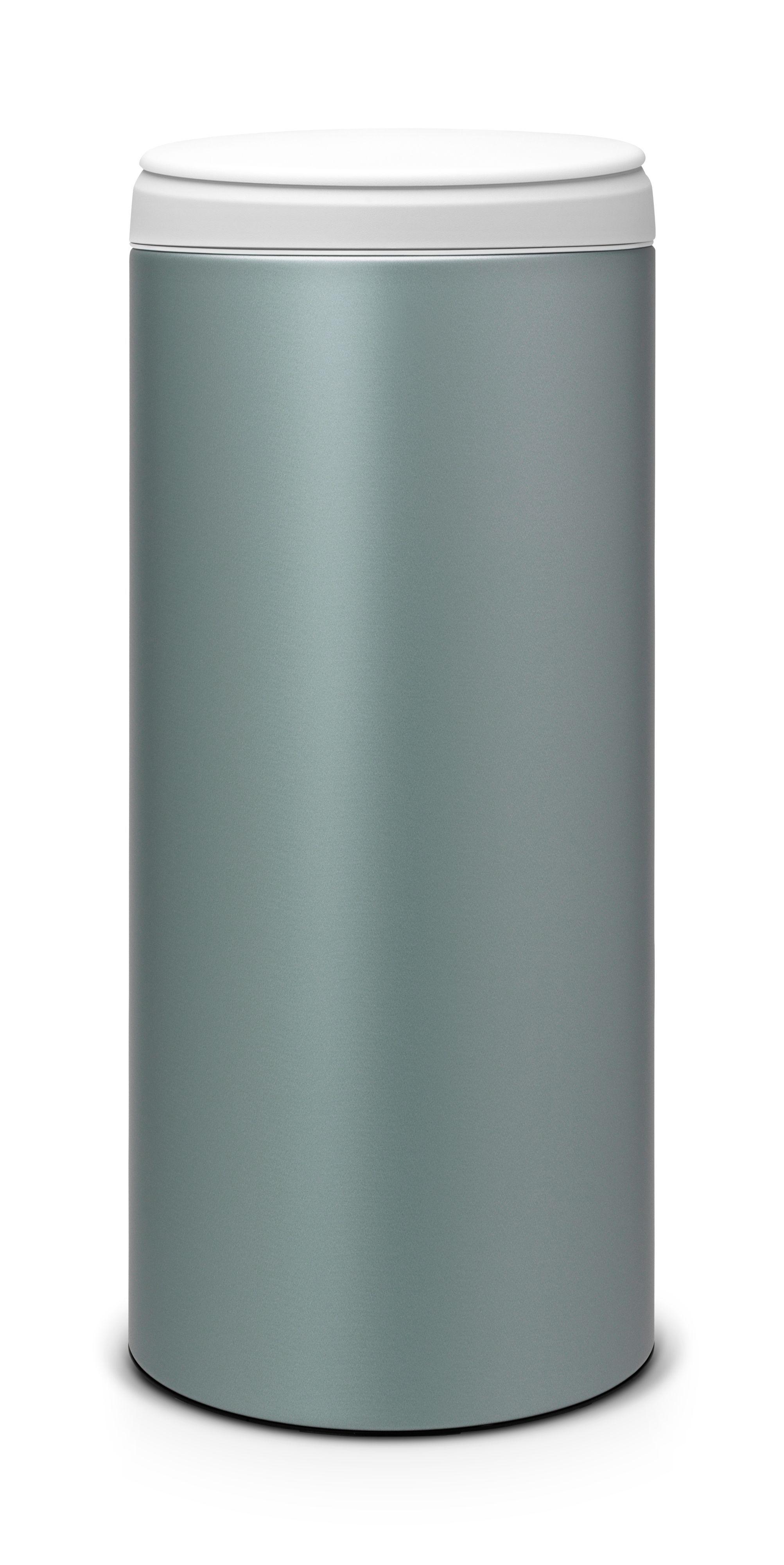 Brabantia Metallic Mint Metal Round Flip Top Kitchen Bin, 30L ...