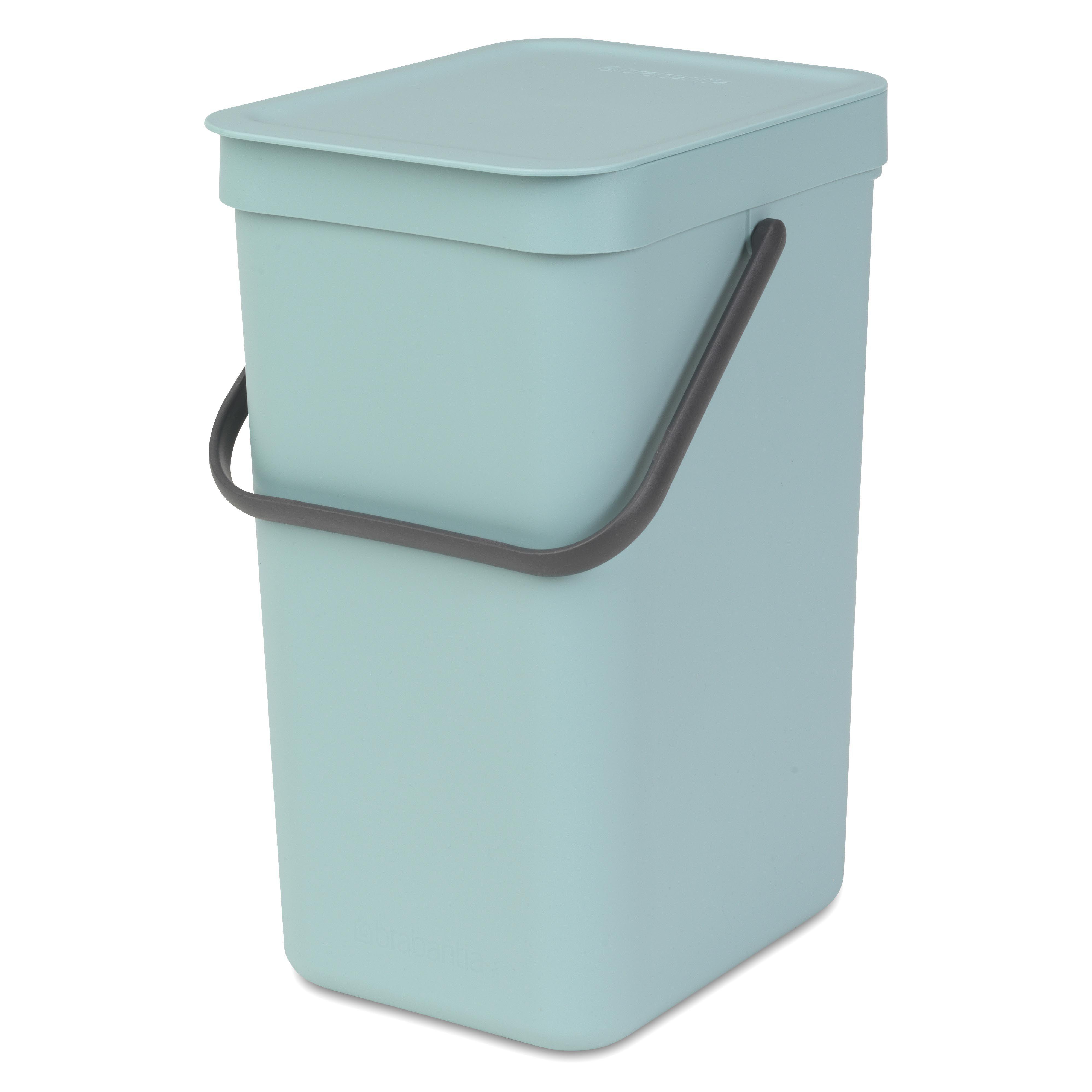 Brabantia Sort & Go Mint Green Plastic Rectangular Waste Bin, 12L ...