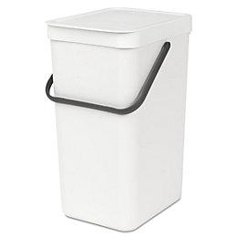 Brabantia White Plastic Rectangular Recycling Bin, 16L