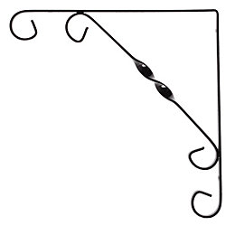 Form Ornamental Black Matt Steel Shelf bracket (D)250mm