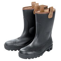 Dunlop Black Rigger boots, size 6