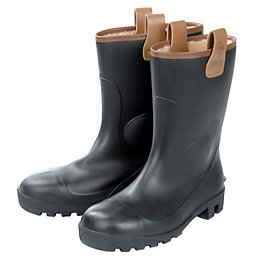 Dunlop Black Rigger Boots, Size 8