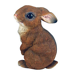 Brown & White Sitting Rabbit Garden Ornament