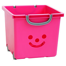 Children's smiley Pink 30.6L Plastic Stackable Storage basket