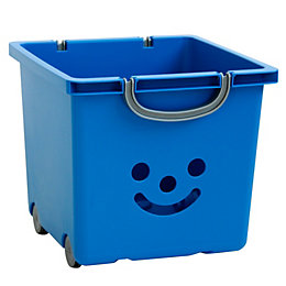 Children's smiley Blue 30.6L Plastic Stackable Storage box