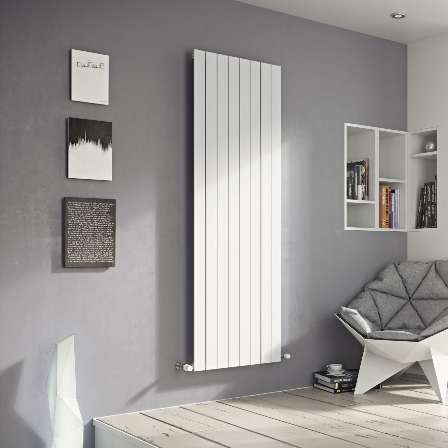 Ximax Vertirad Single Vertical Radiator White (H)1600 mm
