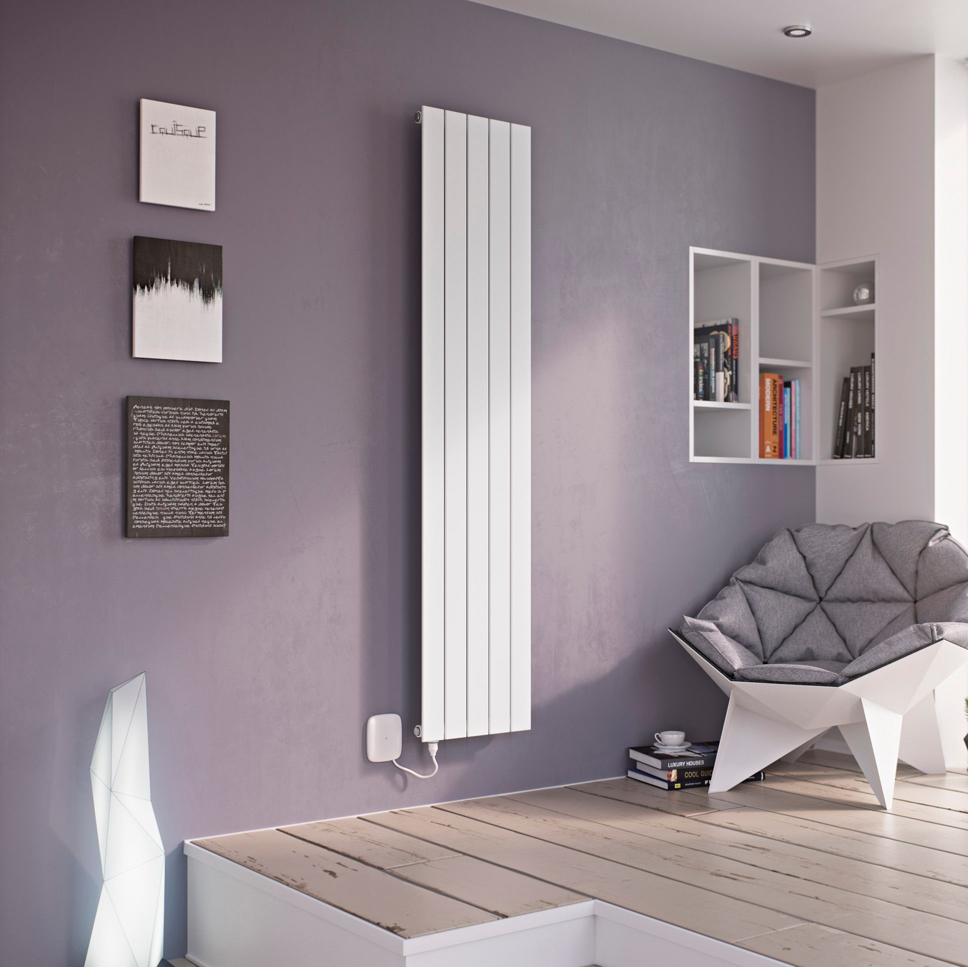 Ximax Vertirad Electric Vertical Radiator White (H)900 mm
