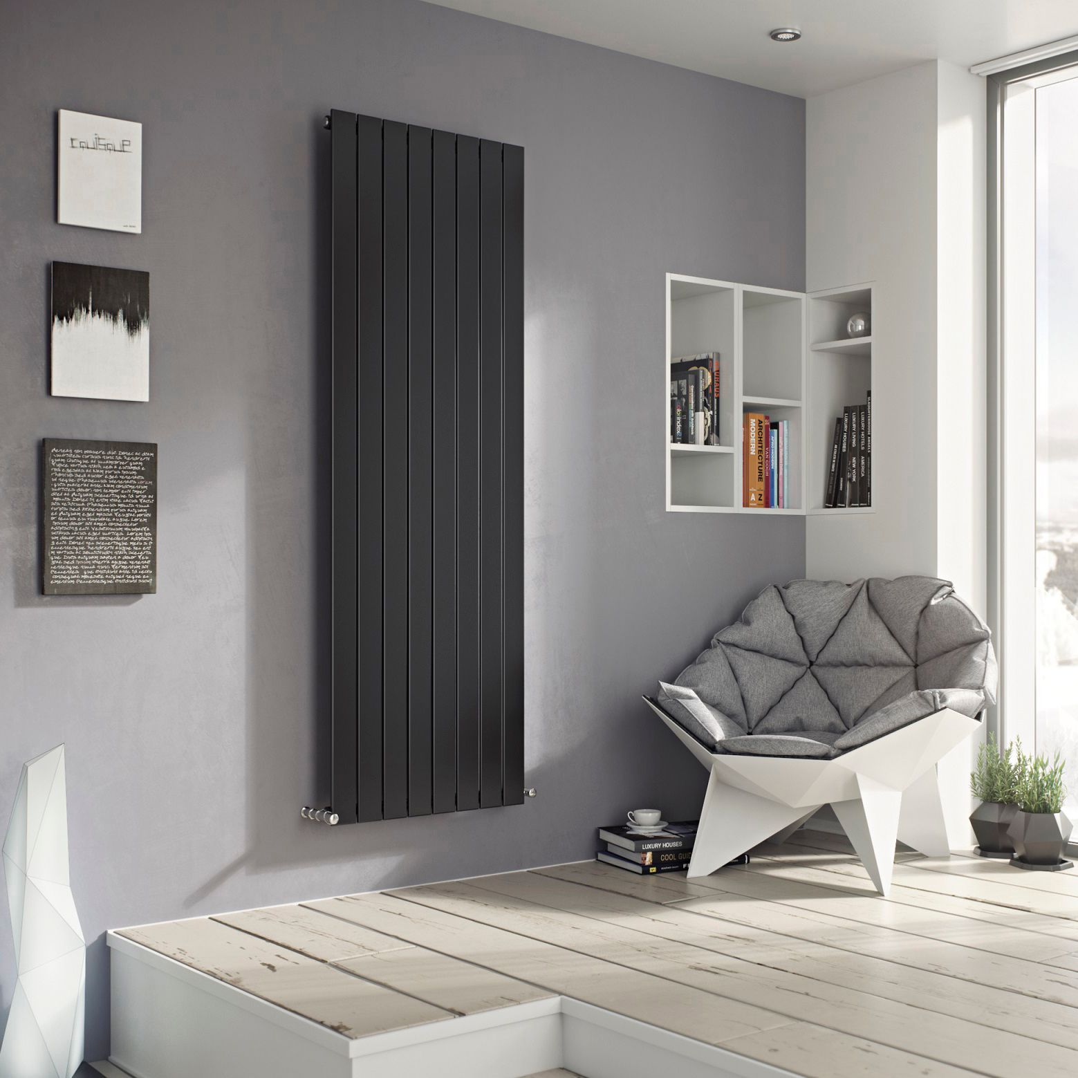 Ximax Vertirad Vertical/Horizontal Radiator Anthracite (H)1200 mm