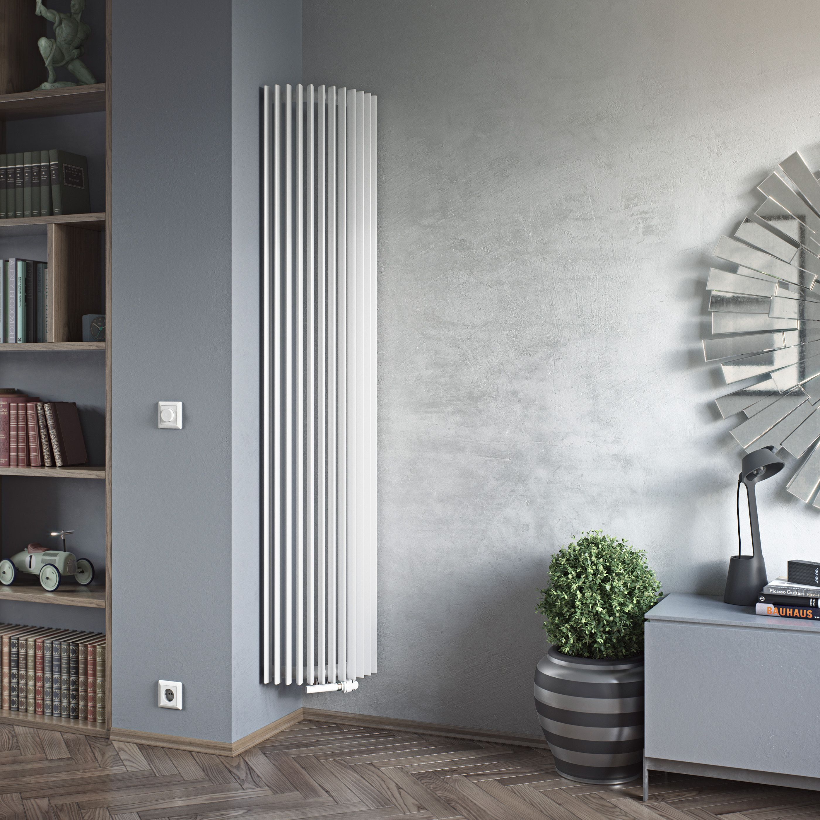 Ximax Triton Semi Circle Vertical Radiator White H 1800