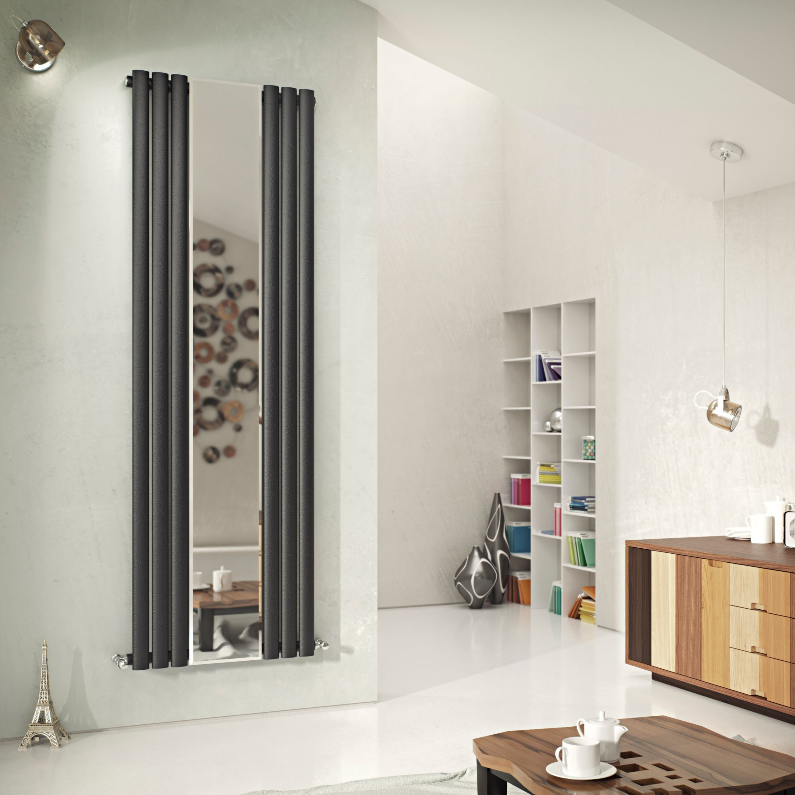 Ximax Fortuna Mirror Vertical Radiator Anthracite (H)1800 mm