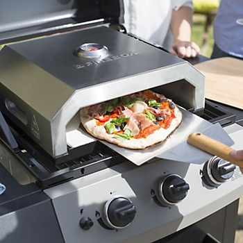Cooking a pizza on a gas barbecue with the La Hacienda Stainless Steel Firebox