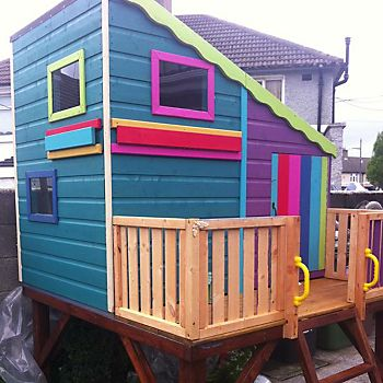 Children's playhouse painted in several different colours