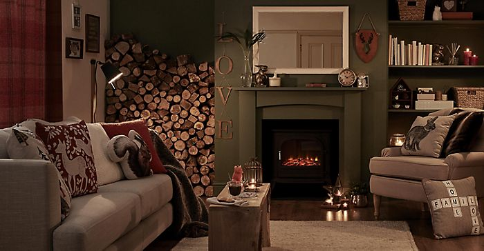 A cosy living room scene with a fire