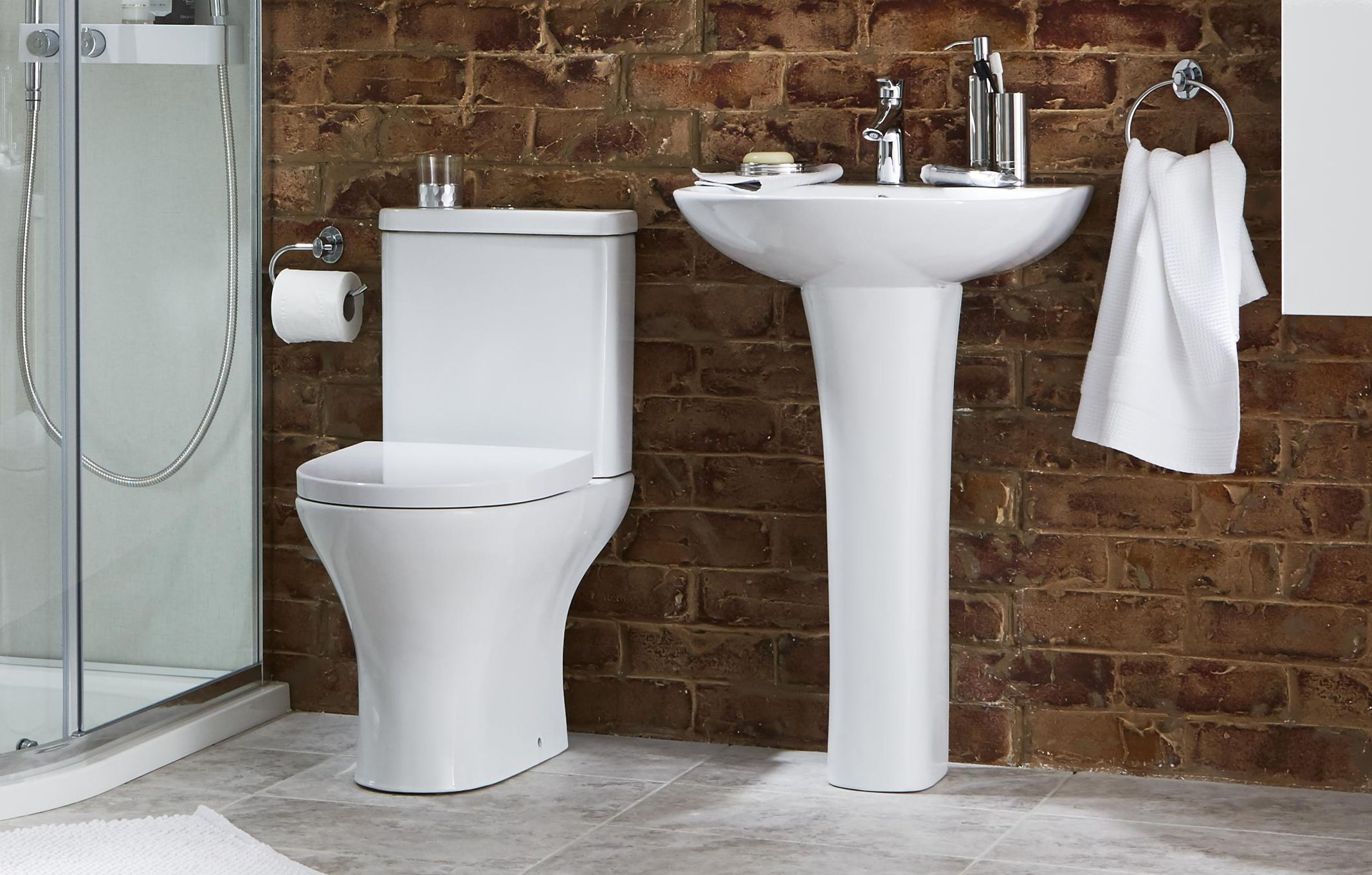 thumbnail: Angelica Pedestal Basin & Close-coupled toilet