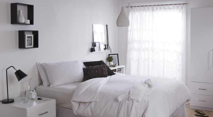 Bedroom painted white