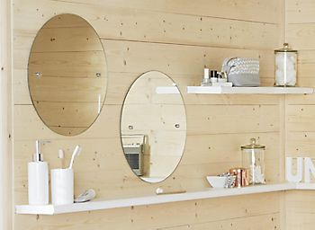 Bathroom shelving with storage jars
