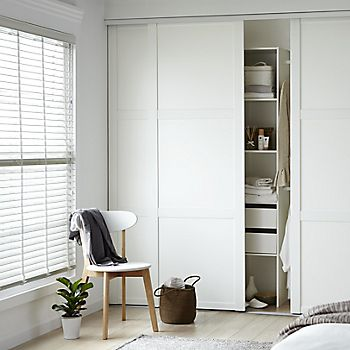 Bedroom wardrobe with stored items