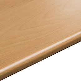 28mm Beech effect Round edge Laminate Worktop (L)3.05m