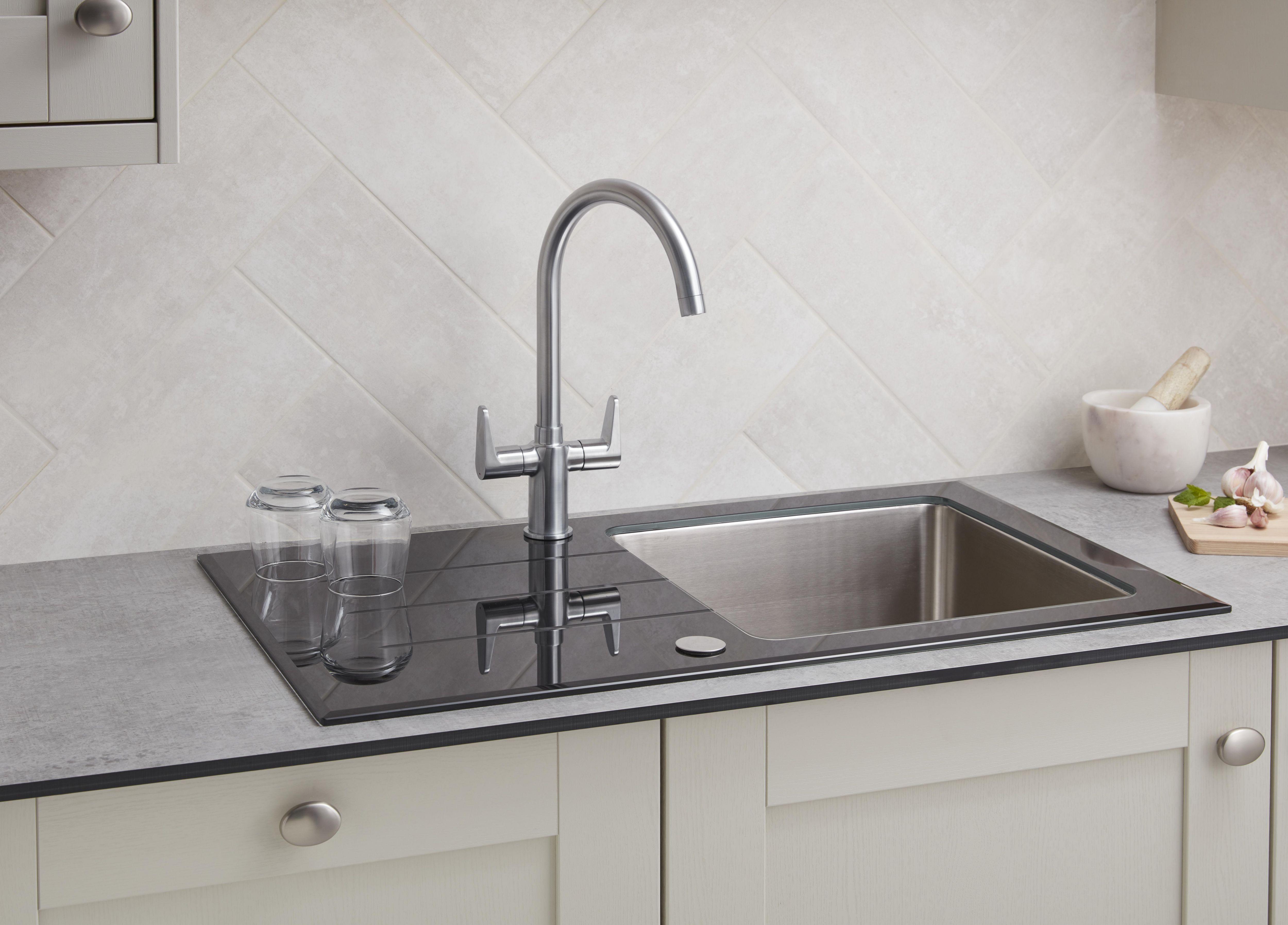 monobloc tap installed in kitchen sink how to remove  u0026 fit a kitchen tap   ideas  u0026 advice   diy at b u0026q  rh   diy com