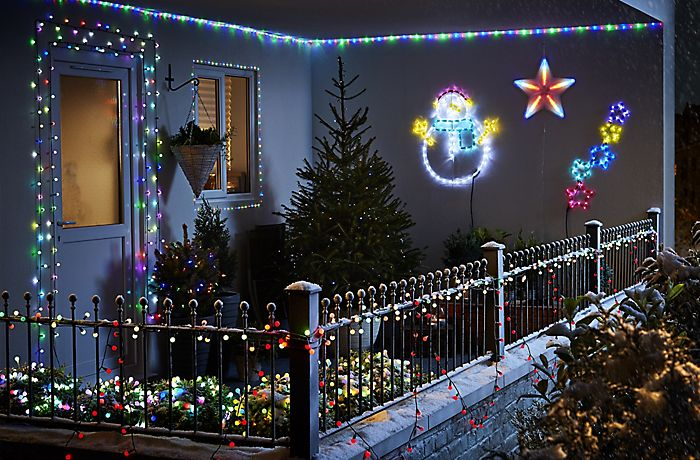 Home Decorated With Christmas Lights