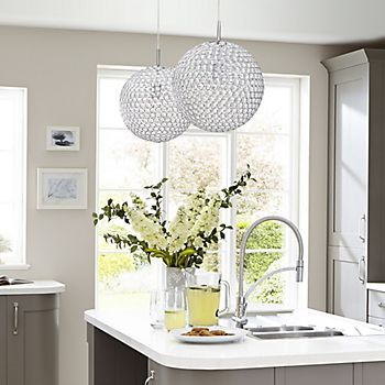Lopez Crystal Bead Chrome-Effect Pendant Ceiling Light in the Cooke & Lewis Carisbrooke Taupe fitted kitchen