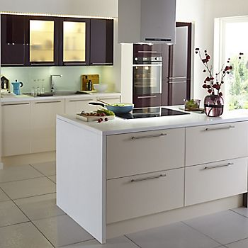 Cooke & Lewis Raffello Gloss fitted kitchen in Aubergine and Cream