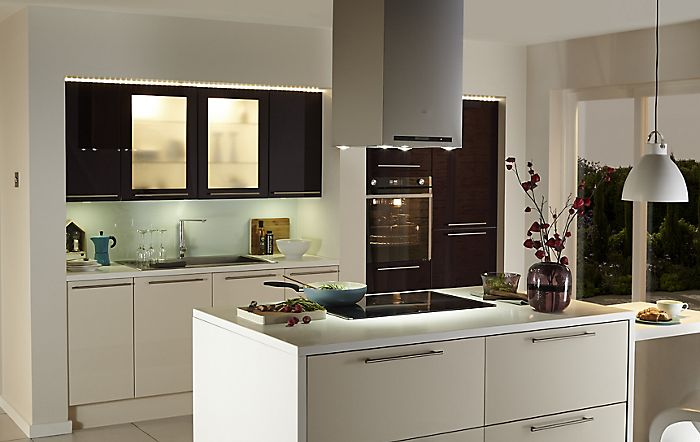 """Lighting in the Cooke & Lewis Raffello High Gloss Aubergine and Cream slab fitted kitchen"""