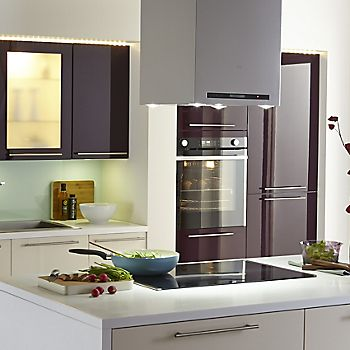 Cooke & Lewis Rafello high gloss aubergine slab kitchen