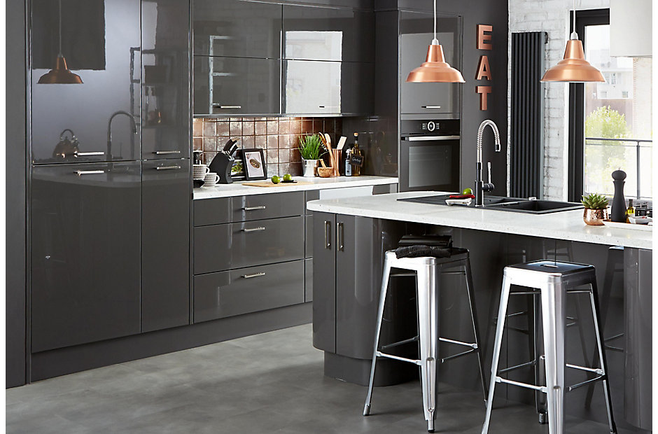 Cooke lewis raffello high gloss anthracite slab diy at b q for Kitchen unit set