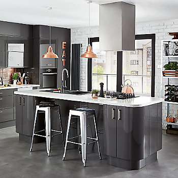 Cooke & Lewis Raffello High Gloss Anthracite Slab kitchen