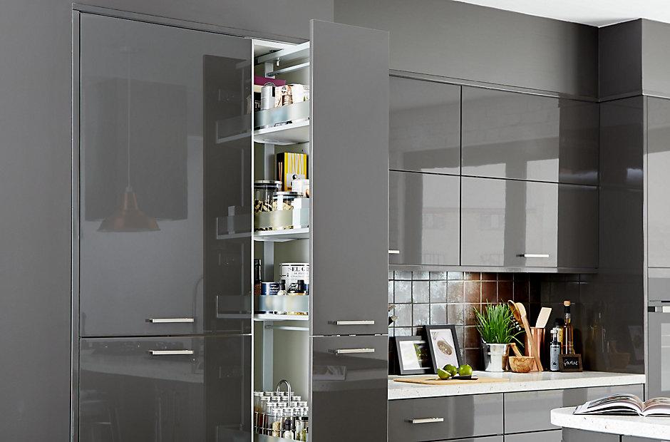 Tall larder cabinet b q bar cabinet for Tall corner kitchen unit