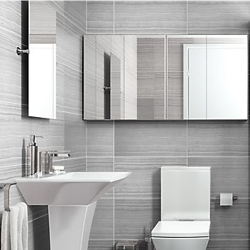 Carapelle bathroom suite with mirrored cabinets
