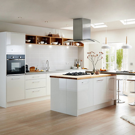 Miraculous It Santini Gloss White Slab Fitted Kitchens Diy At Bq Home Interior And Landscaping Pimpapssignezvosmurscom