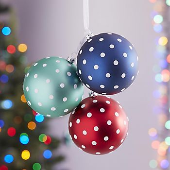 Spotty Christmas hanging baubles from Merry & Bright collection