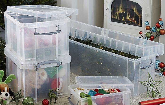 """packed up Christmas decorations"""