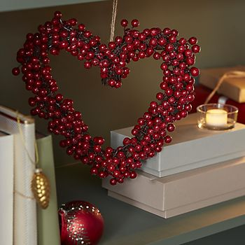 Traditional Red Berry Heart Wreath