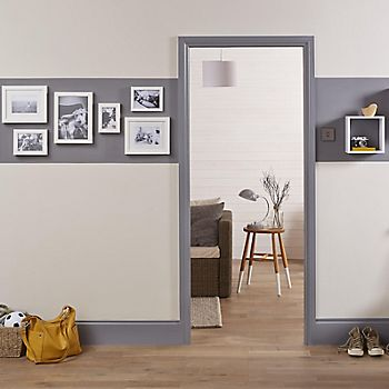 Hallway with grey trim and door frame