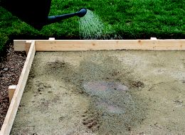 step 2 of laying a concrete shed base