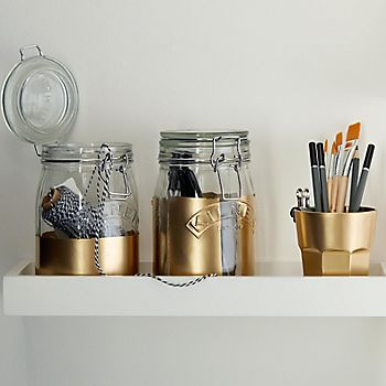 metallic Kilner jars