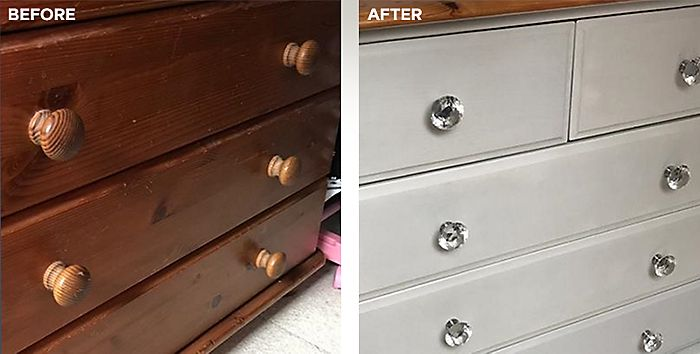 Upcycled chest of drawers with Rust-Oleum furniture paint