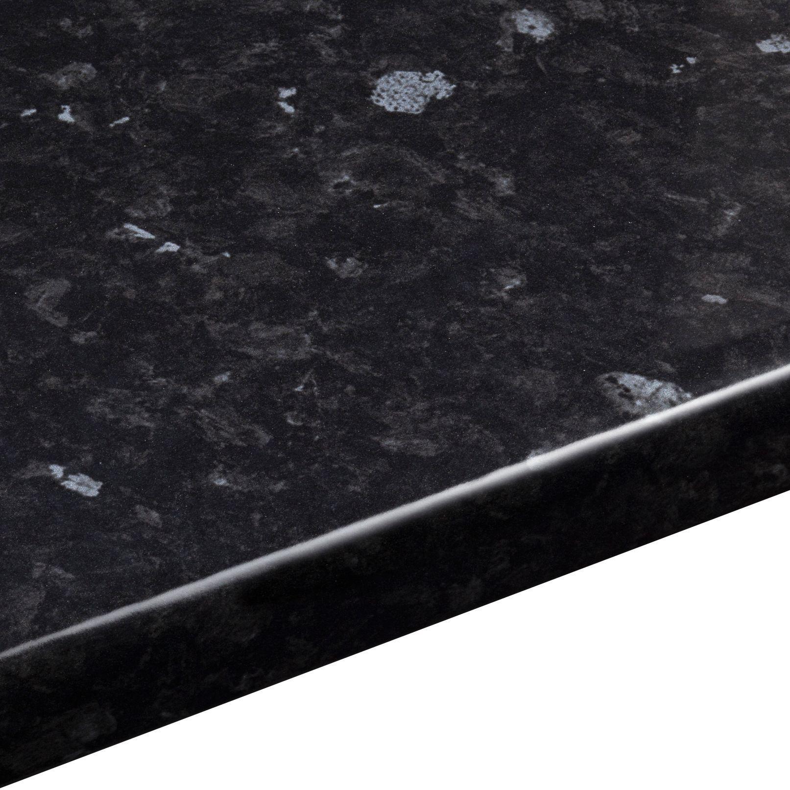 38mm Ebony Granite Laminate Black Gloss Stone Effect Round