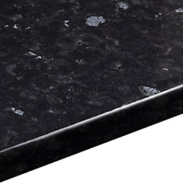 38mm Ebony granite Black Gloss Granite effect Round