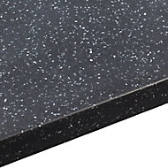 34mm Black star Black Stone effect Round edge Earthstone Worktop (L)3m (D)605mm