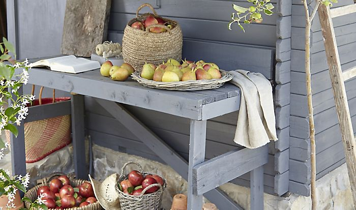 """Harvested apples on a table by a garden shed"""