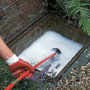 Man clearing outside drain