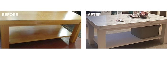 Upcycled coffee table using marble self-adhesive film